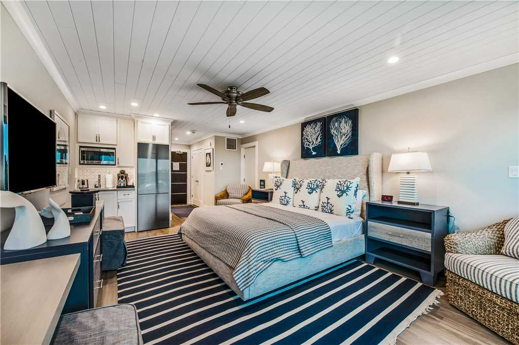 Interior of bedroom and kitchen rental in Anna Maria Island