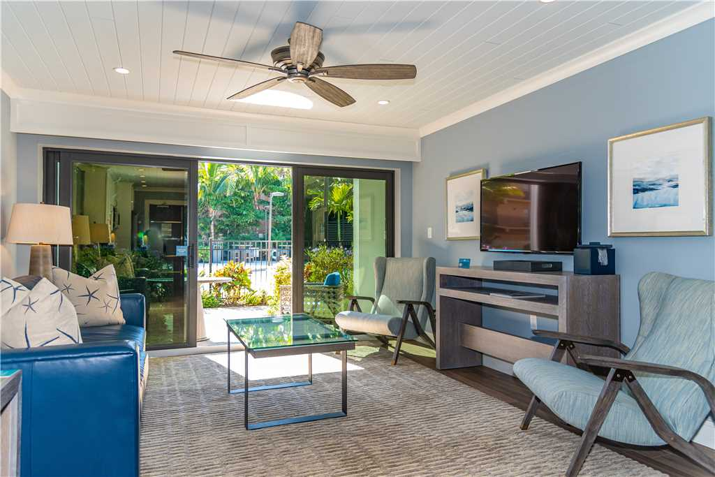 Interior of living room and partial patio view in Anna Maria Island