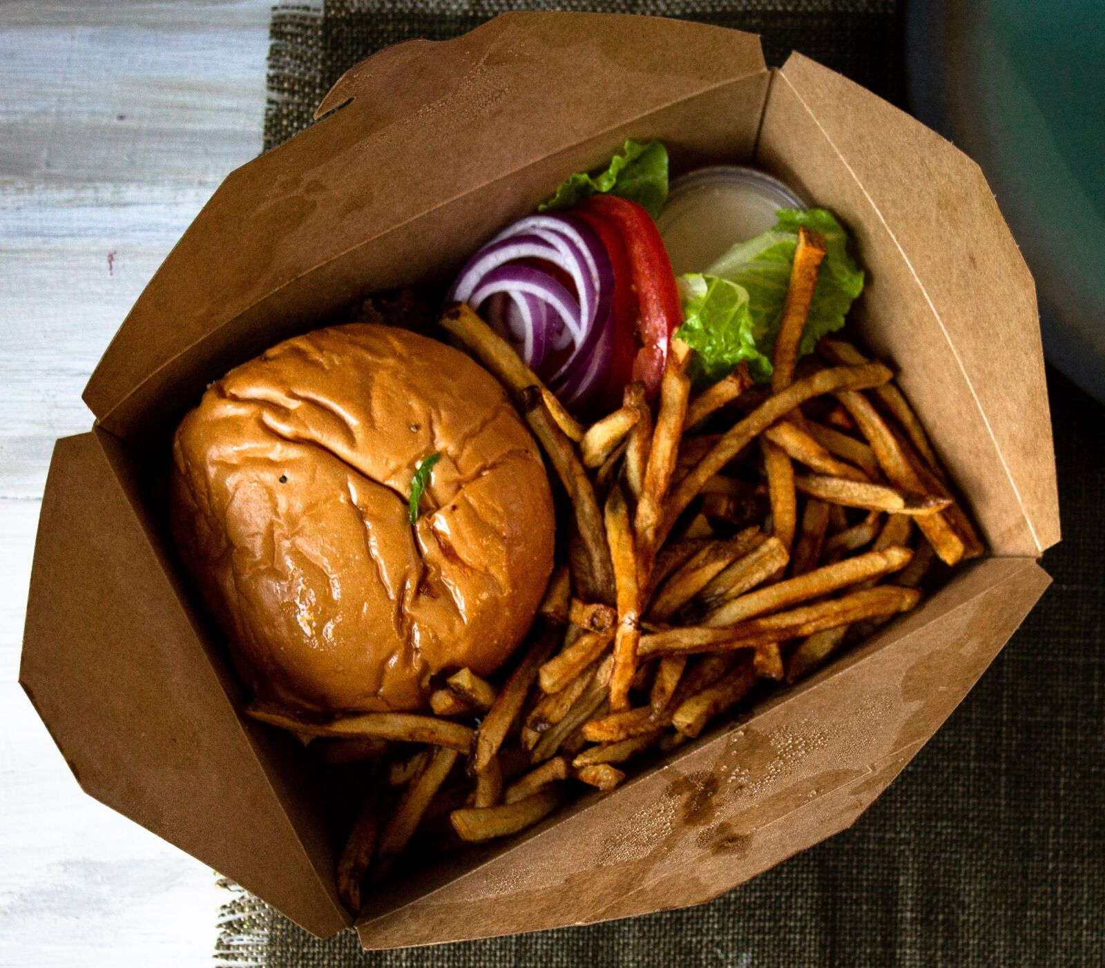 To go burger and fries