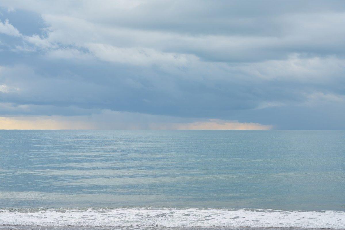 stormy beach view