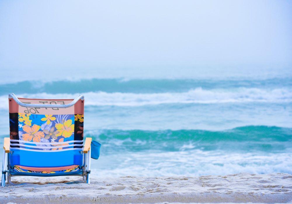 beach chair at shore